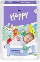 Подгузники Bella Happy 1 (2-5 кг) 42 шт