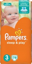 Подгузники Pampers Sleep&Play 3 (5-9 кг) 78 шт