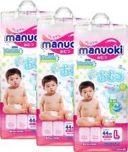 Набор подгузников Manuoki L (12+ кг) 3 пачки по 44 шт