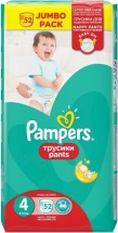 Трусики Pampers 4 (8-14 кг) 52 шт
