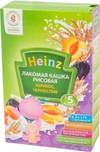 """Каша лакомая """"Рисовая абрикос-чернослив"""", с 5 мес., 200гр., Heinz"""