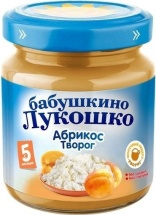 "Пюре ""Абрикос-творог"", с 5 мес., 100 гр., Бабушкино лукошко"