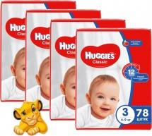 Набор подгузников Huggies Classic 3 (4-9 кг) 4 пачки по 78 шт