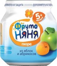 """Пюре """"Яблоко и абрикос"""", с 5 мес., 100 гр., Фрутоняня"""