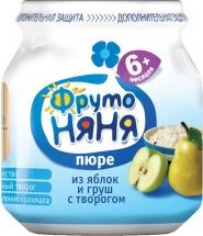 """Пюре """"Яблоко и груша с творогом"""", с 6 мес., 100 гр., Фрутоняня"""
