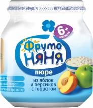 """Пюре """"Яблоко и персик с творогом"""", с 6 мес., 100 гр., Фрутоняня"""
