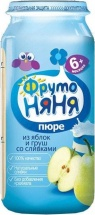"""Пюре """"Яблоко и груша со сливками"""", с 6 мес., 250 гр., Фрутоняня"""