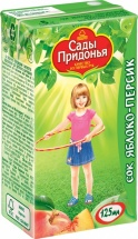 Сок Сады Придонья Яблоко-Персик с мякотью с 5 мес 125 мл