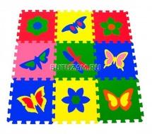 "Мягкий пол ""Бабочки"", 33Х33см., 9 дет., Pol-par"