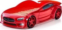 Кровать-машина EVO Мерседес объемная (3d) с подсветкой фар и спойлером, красный