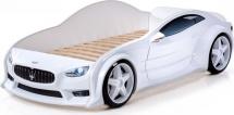 Кровать-машина EVO Мазерати объемная (3d) с подсветкой фар и спойлером, белый