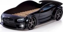Кровать-машина EVO Мерседес объемная (3d) с подсветкой фар и спойлером, черный