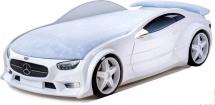 Кровать-машина NEO Мерседес с подсветкой фар, спойлером и вращающимися колесами, белый