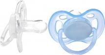 Пустышка Avent Freeflow силик. симметрич. 0-6 мес. 2 шт, голубой и прозрачный