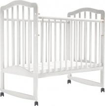 Кроватка Лаура 6 колесо-качалка, белый