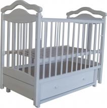 Кроватка Лаура 8 маятник поперечный, ящик, белый
