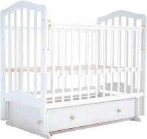 Кроватка Лаура 5 маятник поперечный, ящик, белый