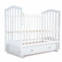 """Кроватка """"Лаура-5"""" 120х60 , маятник поперечный, ящик, белый, Лаура"""