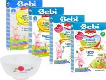 Набор Bebi Premium (4 молочные каши + тарелочка)