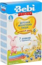 Каша молочная 7 злаков с черникой, Premium, c 6 мес., 200гр., Bebi